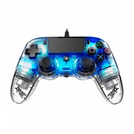 nacon wired illuminated-compact-controller for transparent blue PS4